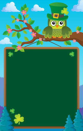 St Patricks Day theme board with owl Illustration
