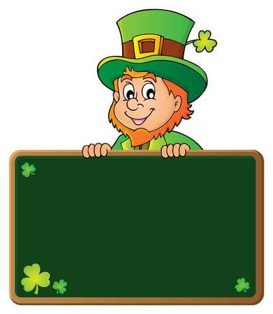 Leprechaun holding green board Illustration