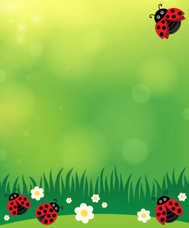 Spring background with ladybugs 2 - eps10 vector illustration.