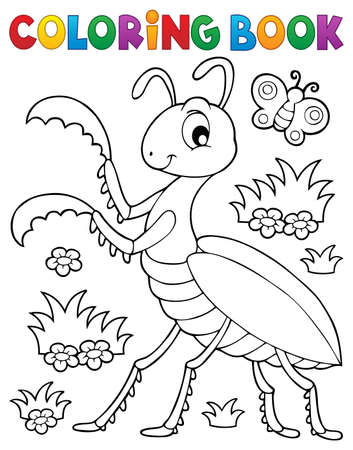 Coloring book praying mantis theme 1 - eps10 vector illustration. Illustration