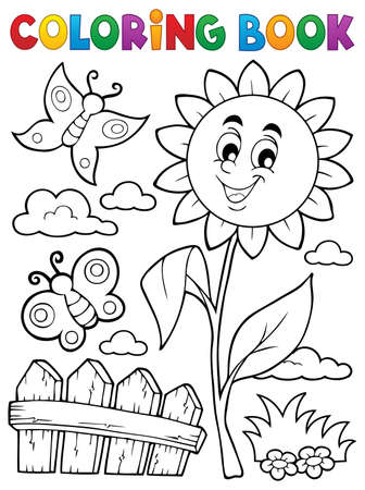 Coloring book flower topic 7 - eps10 vector illustration.