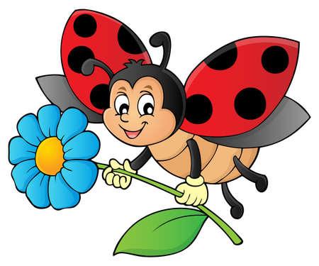 Ladybug holding flower theme image 1 - eps10 vector illustration. Illustration