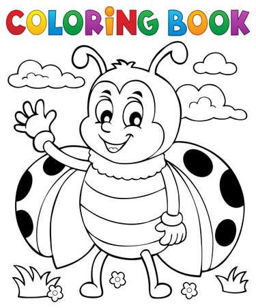Coloring book ladybug theme 5 - eps10 vector illustration. Illustration