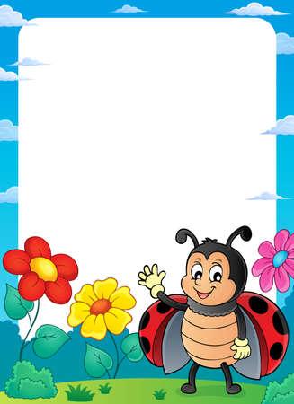 Ladybug theme frame 2 - eps10 vector illustration. Illustration