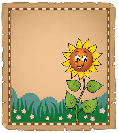 Parchment with happy sunflower - eps10 vector illustration.