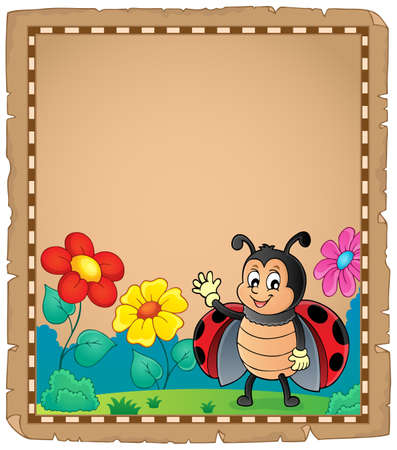 Parchment with waving ladybug - eps10 vector illustration. Illustration