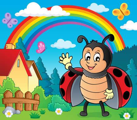 Waving ladybug theme image 3 - eps10 vector illustration.