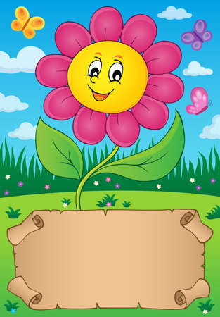 Small parchment with happy flower - eps10 vector illustration.