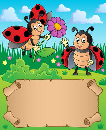 Small parchment with happy ladybugs - eps10 vector illustration.