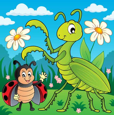 Meadow with praying mantis and ladybug