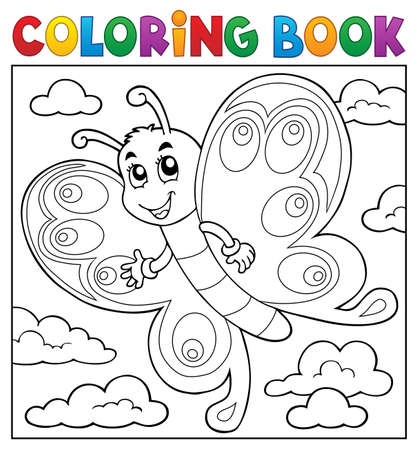 Coloring book happy butterfly topic