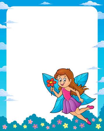 Happy fairy theme frame Illustration