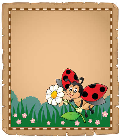 Parchment with ladybug holding flower