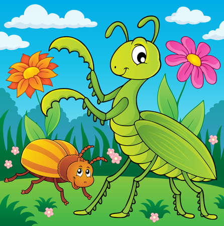 Meadow with praying mantis and bug Illustration