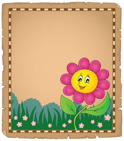 Parchment with happy flower