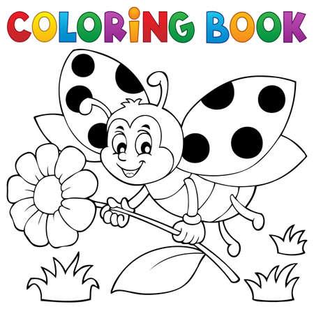 Coloring book ladybug theme Illustration