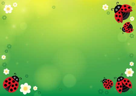 Spring background with ladybugs