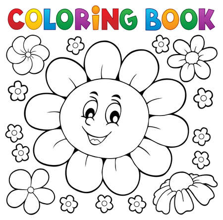 Coloring book happy flower head