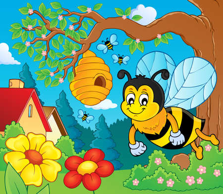 Happy spring bee topic image vector illustration.