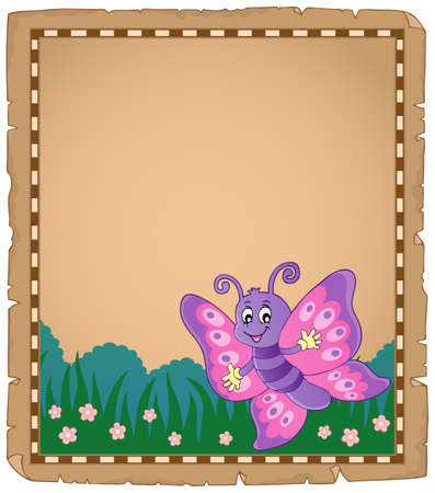 Parchment with happy butterfly theme vector illustration. Ilustração
