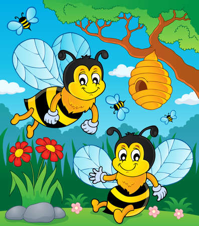 Happy spring bees theme image vector illustration. Illustration