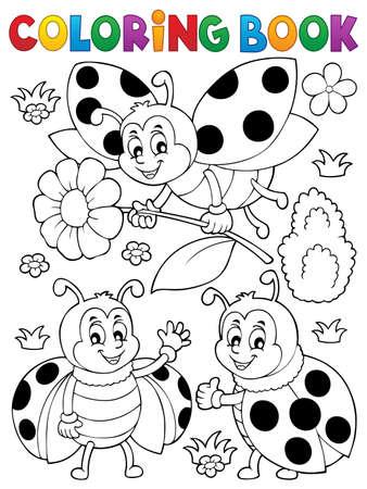 Illustrazione di tema della coccinella del libro da colorare.