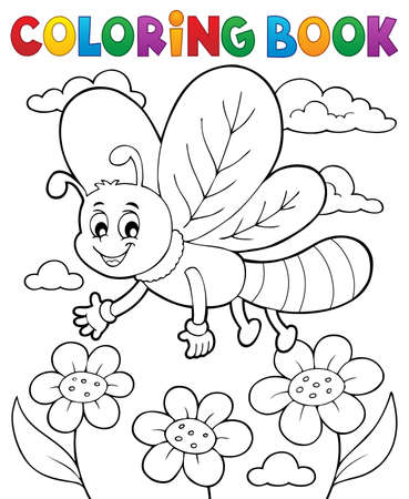Coloring book dragonfly theme vector illustration.