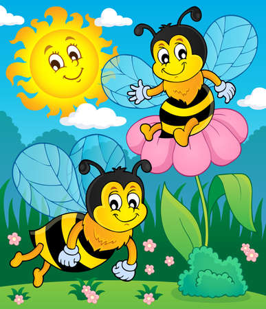 Happy spring bees theme image  vector illustration.