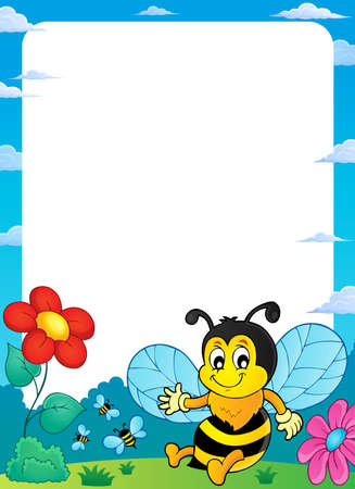 Happy spring bee topic frame vector illustration.