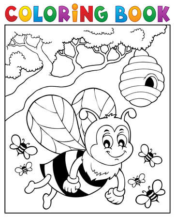Coloring book happy bee theme