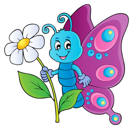 Happy butterfly holding flower theme