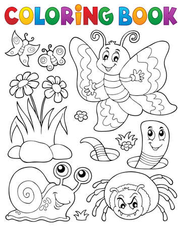 Coloring book with small animals vector illustration.