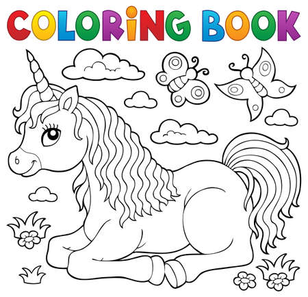 Coloring book lying unicorn  vector illustration. Reklamní fotografie - 98787903