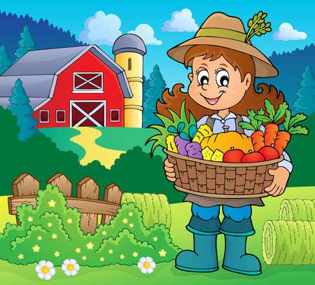 Woman farmer holding harvest  vector illustration. Illustration