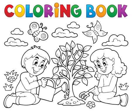 Coloring book kids planting tree  vector illustration. Ilustração