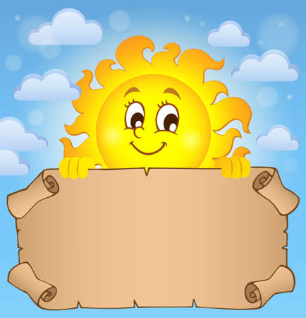 Happy sun holding parchment theme vector illustration. Illustration