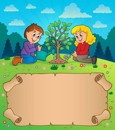 Small parchment and kids planting tree  vector illustration.