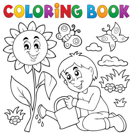 Coloring book boy gardening theme  vector illustration.