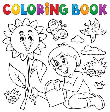 Coloring book boy gardening theme  vector illustration.