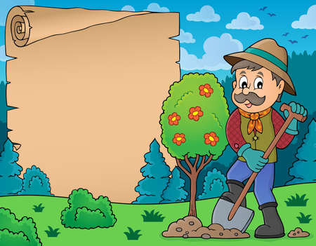 Parchment with man planting tree  vector illustration.