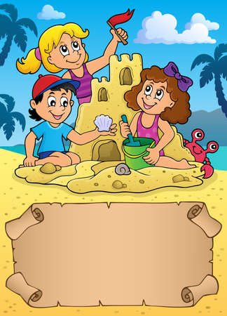 Small parchment and kids by sand castle  vector illustration. Illustration