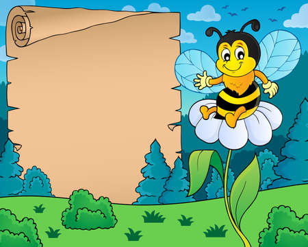 Parchment with happy bee theme 4 - eps10 vector illustration. Illustration