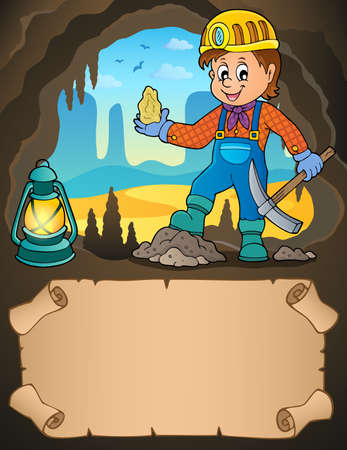 Small parchment and miner with ore - eps10 vector illustration. Ilustracja