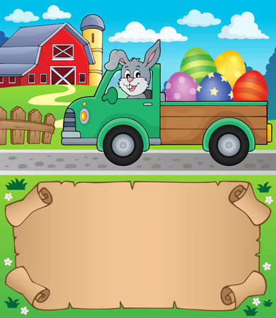 Small parchment and Easter truck - eps10 vector illustration.