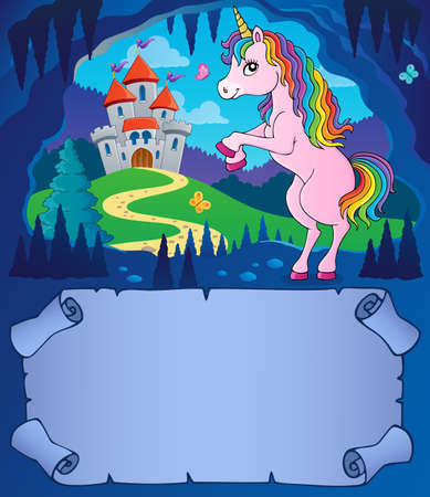 Small parchment and unicorn in cave 2 - eps10 vector illustration. Illustration