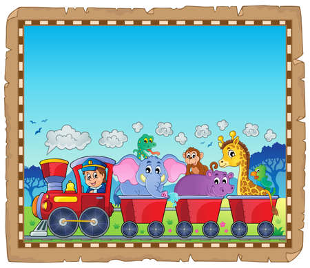 Train with animals theme parchment 1 - eps10 vector illustration.