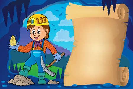 Miner theme parchment 1 - eps10 vector illustration. Ilustracja