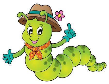 Happy caterpillar theme image 1 - eps10 vector illustration. Illustration