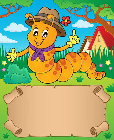 Happy caterpillar theme parchment 1 - eps10 vector illustration.