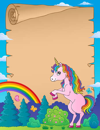 Parchment with standing unicorn theme 1 - eps10 vector illustration.